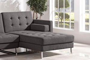 Diamond Sofa Opus Convertible Tufted Grey Right-Facing Chaise Lounge