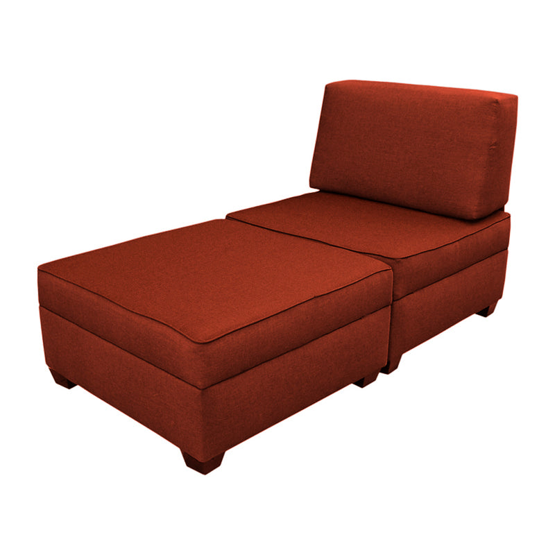"DuoBed Modular Storage Chaise Lounge, 30"" (Brick Red)"