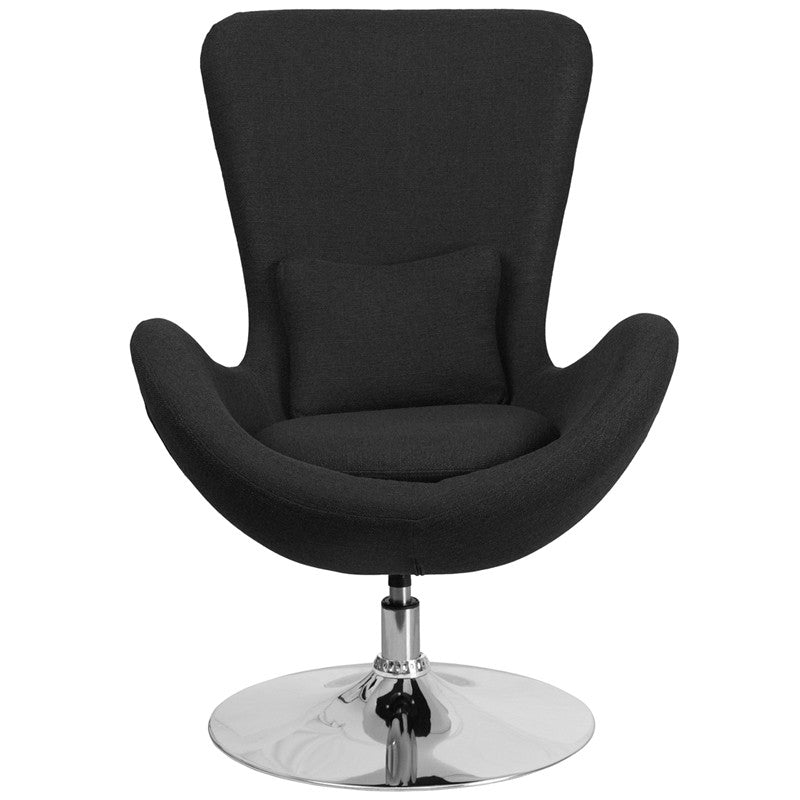 Egg Series Black Fabric Side Chair