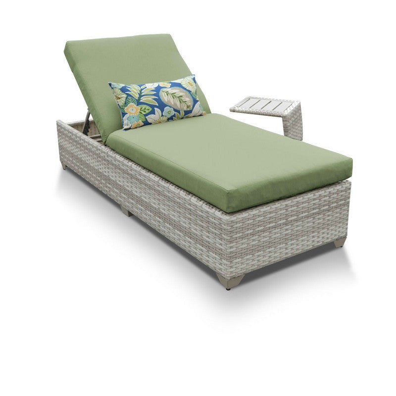 Fairmont Outdoor Wicker Chaise Lounge With Side Table - Cilantro