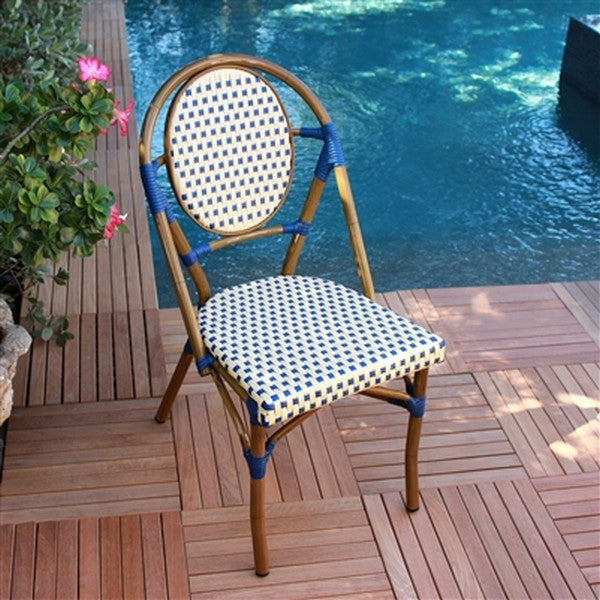 FRENCH Bistro Stacking Chair PARIS - Set of 6 (Blue)