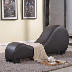 Faux Leather Stretch Chaise Yoga Chair