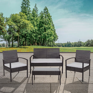 Flash Furniture Aransas Outdoor 4-Piece Black Patio Set with Steel Frame