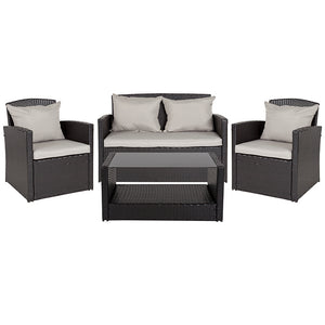 Flash Furniture Aransas Outdoor 4-Piece Black Rattan Patio Set