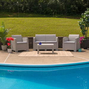 Flash Furniture Indoor/Outdoor 4-Piece Faux Rattan Loveseat, Chair, & Table Set
