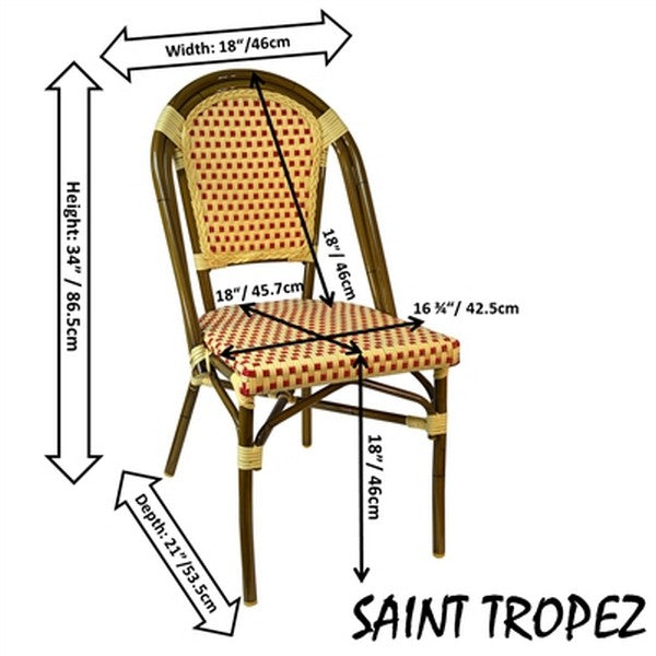 FRENCH Bistro Stacking Chair SAINT TROPEZ - Set of 6 (Red)