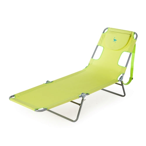Green Chaise Lounge Beach Chair with Rustproof Steel Frame