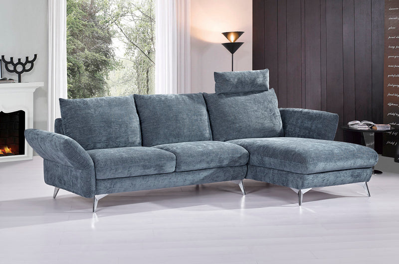 Giselle RF Chaise Sectional in Dark Blue Fabric with Adjustable Arms