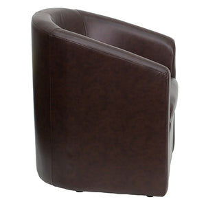 Flash Furniture Brown Leather Barrel-Shaped Guest Chair