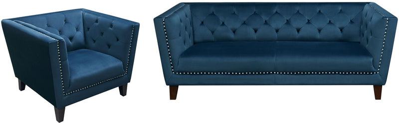 Grand Tufted Back Velvet Sofa & Chair Set - Blue