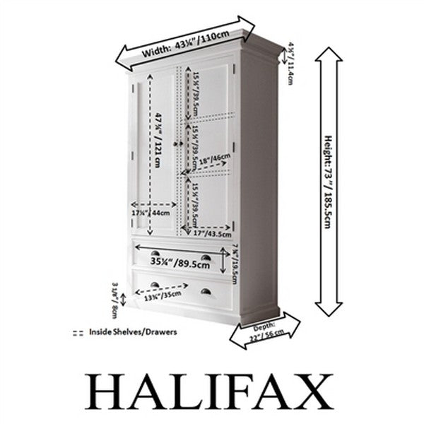 HALIFAX Amoire with 2 bottom drawers and large double door enclosed compartment - W001