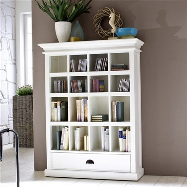 HALIFAX White Mahogany Bookcase (1 Drawer) - CA582