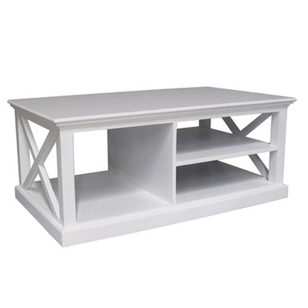 HALIFAX White Mahogany Coffee Table with Dark Top