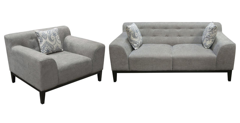 Marquee Tufted Back Fabric Sofa & Chair Set - Moonstone