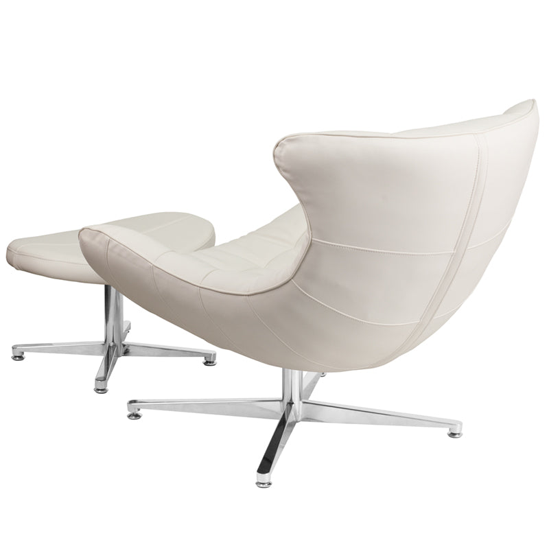 Melrose White Leather Cocoon Chair With Ottoman