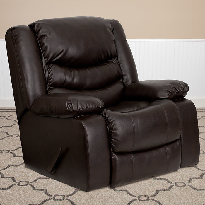 Flash Furniture Plush Brown Leather Lever Rocker Recliner