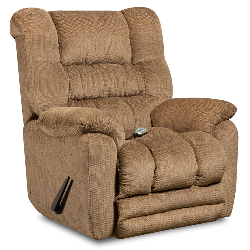 Massaging Microfiber Rocker Recliner with Heat Control - Beige