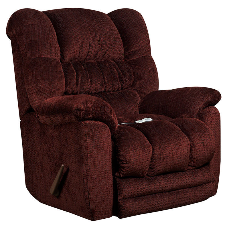 Massaging Microfiber Rocker Recliner with Heat Control - Merlot