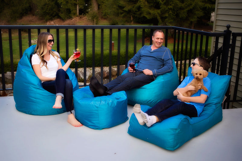 Summer Days Bean Bag Chaise Lounger Patio Set - 3 Piece Set (Teal)