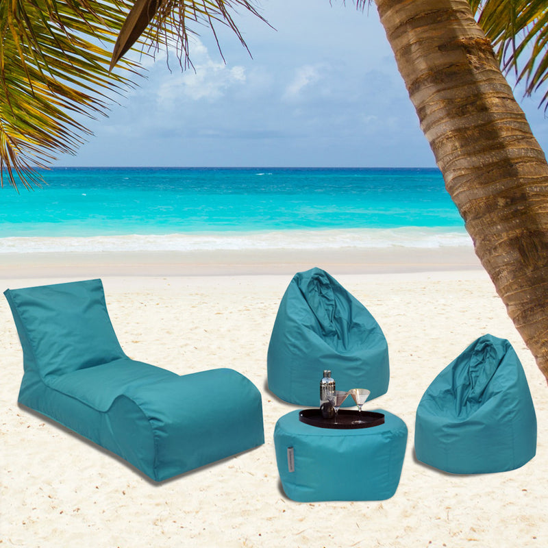 Summer Days Bean Bag Chaise Lounger Patio Set - 4 Piece Set (Teal)