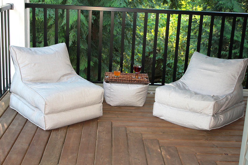 The Hamptons Bean Bag Chaise Lounger Set - 2 Loungers + 1 Ottoman