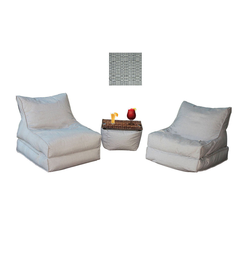 The Hamptons Bean Bag Chaise Lounger Set - 4 Loungers + 1 Ottoman
