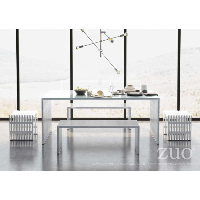 Novel Double Bench - Brushed Stainless Steel