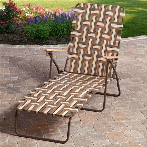 Outdoor Retro Beach Chair Chaise Lounge in Brown and Cream