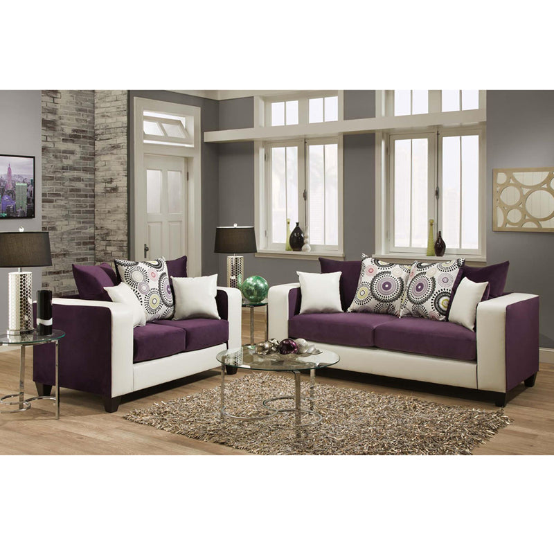 Riverstone Implosion Purple Velvet Sofa Set