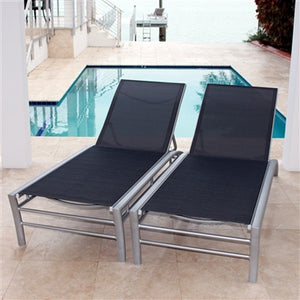 Regatta Stacking Sun Lounger with 5 Position Backrest in Graphite (Set of 2)