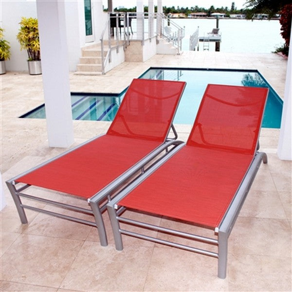 Regatta Stacking Sun Lounger with 5 Position Backrest in Red (Set of 2)