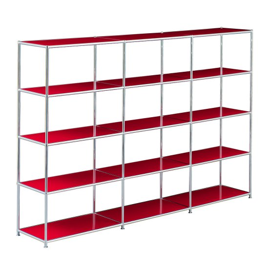 SYSTEM4 Open Bookshelves with 12 Shelves (Wine Red)