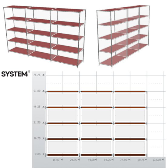 SYSTEM4 Open Bookshelves with 12 Shelves (Silver)