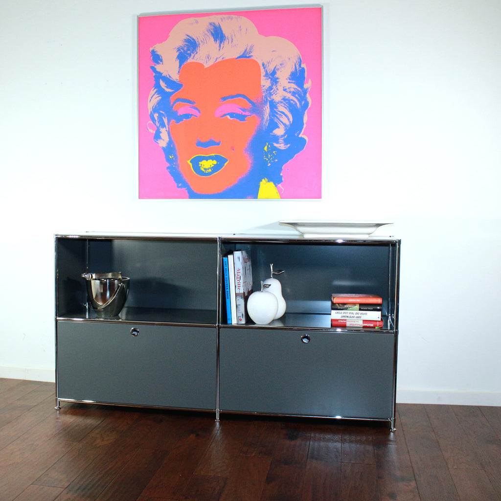 SYSTEM4 Filing Credenza with 2 Large Drawers and 2 open Shelves (Dark Gray)