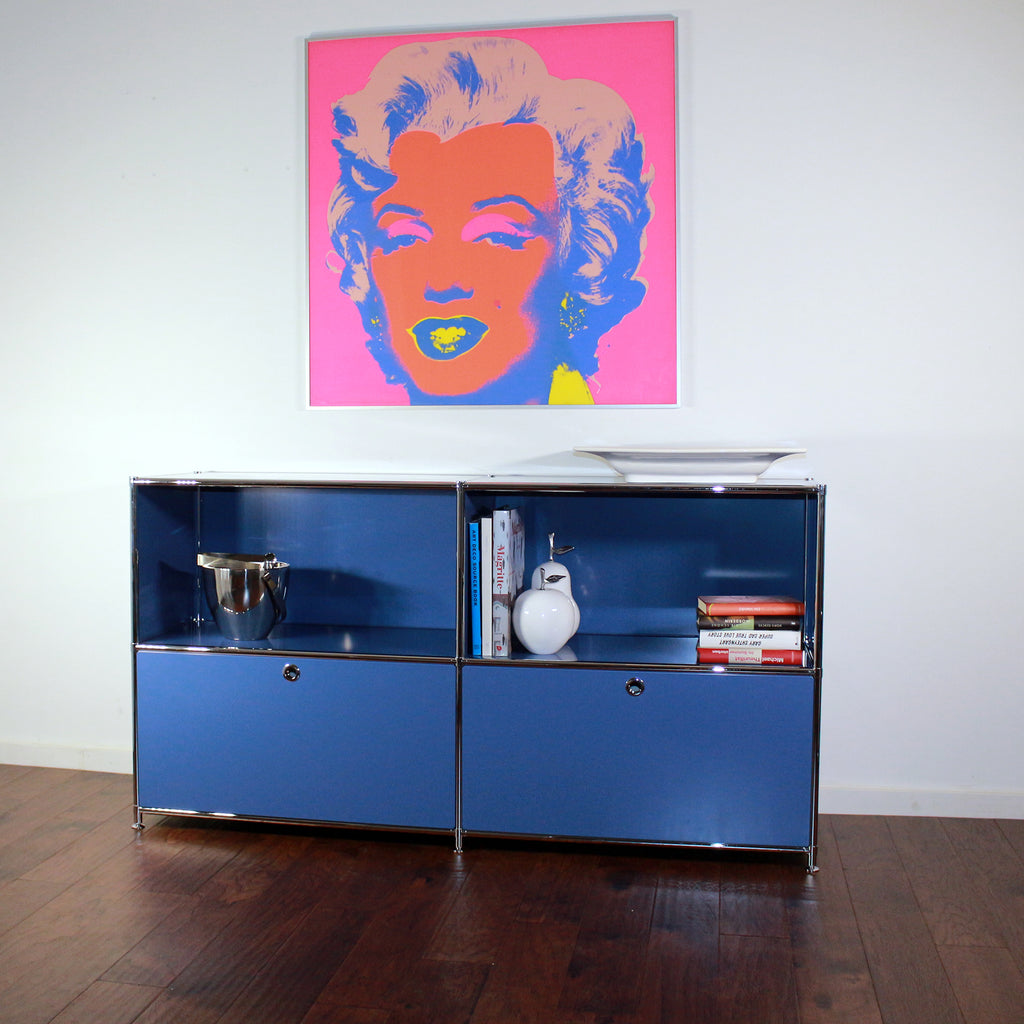 SYSTEM4 Filing Credenza with 2 Large Drawers and 2 open Shelves (Blue)
