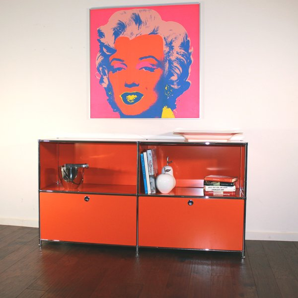 SYSTEM4 Filing Credenza with 2 Large Drawers and 2 open Shelves (Orange)