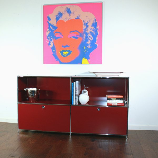 SYSTEM4 Filing Credenza with 2 Large Drawers and 2 open Shelves (Red)