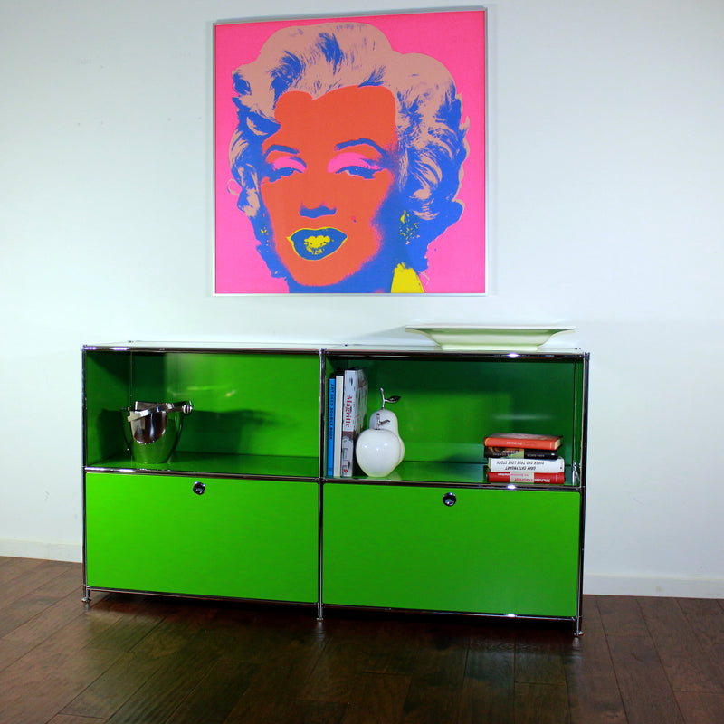 SYSTEM4 Filing Credenza with 2 Large Drawers and 2 open Shelves (Green)