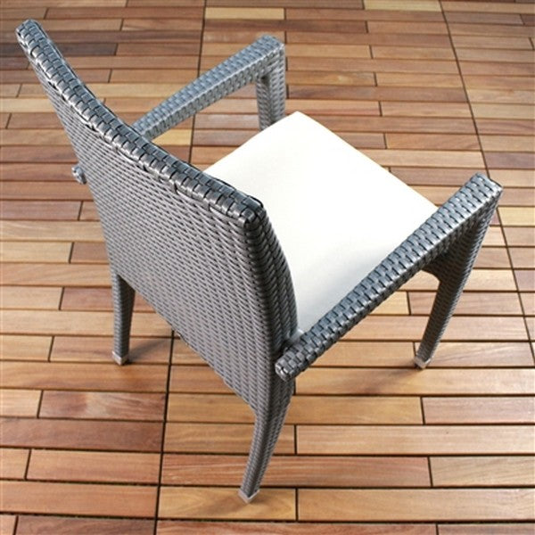 VENICE Viro Wicker Stacking Patio Dining Chairs in Gray (Set of 6)