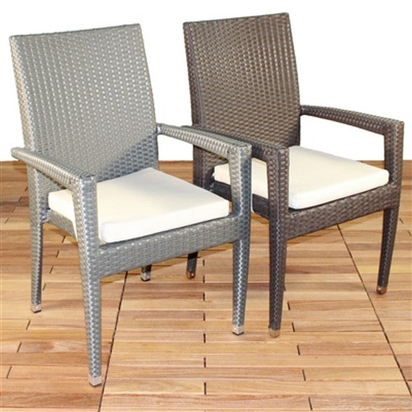 VENICE Viro Wicker Stacking Patio Dining Chair in Mocha (Set of 6)