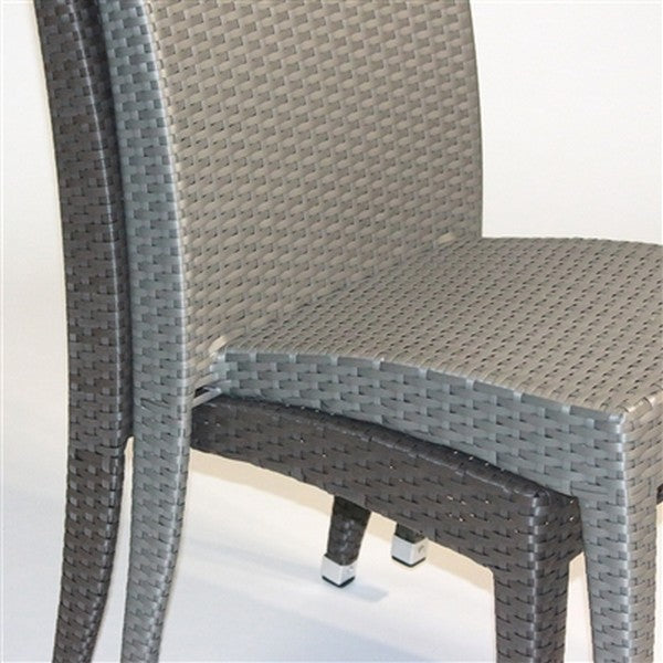 VENICE Viro Wicker Armless Stacking Patio Dining Chairs in Gray (Set of 6)