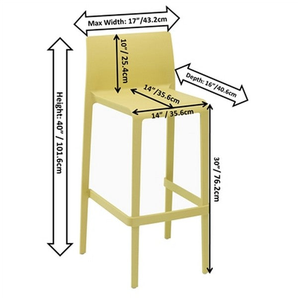 VOLT Patio or Indoor Stacking Barstool 2-pack - Yellow
