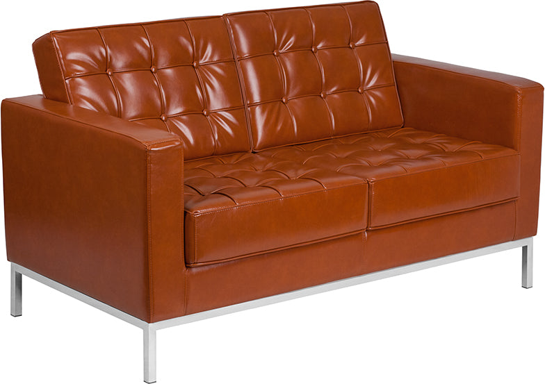 HERCULES Lacey Series Contemporary Cognac Leather Loveseat