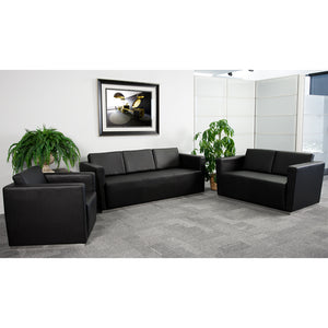 Flash Furniture Hercules Trinity Series Contemporary Black Leather Sofa