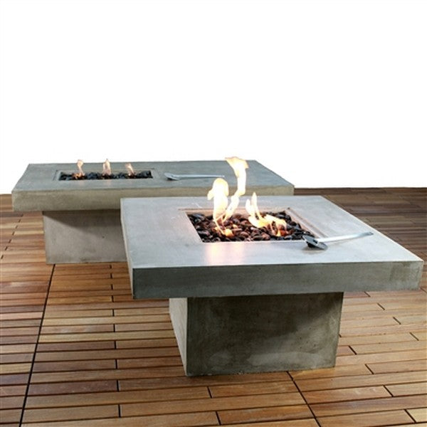 Zement Bauhaus- Stylish Rectangle Concrete Fire Table with 3 Flames