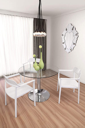"Zuo Modern Galaxy 39"" Dining Table with Glass Top"