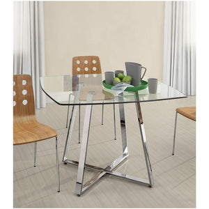 "Zuo Modern Lemon Drop 42"" Dining Table with Tempered Glass Top"