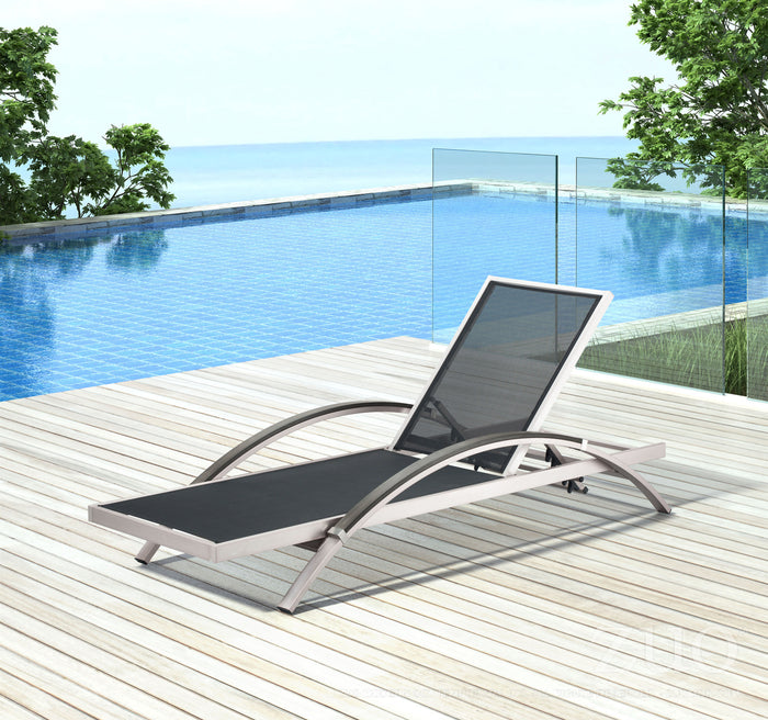 Zuo Modern Metropolitan Outdoor Brushed Aluminum Chaise Lounge (Set of 2)