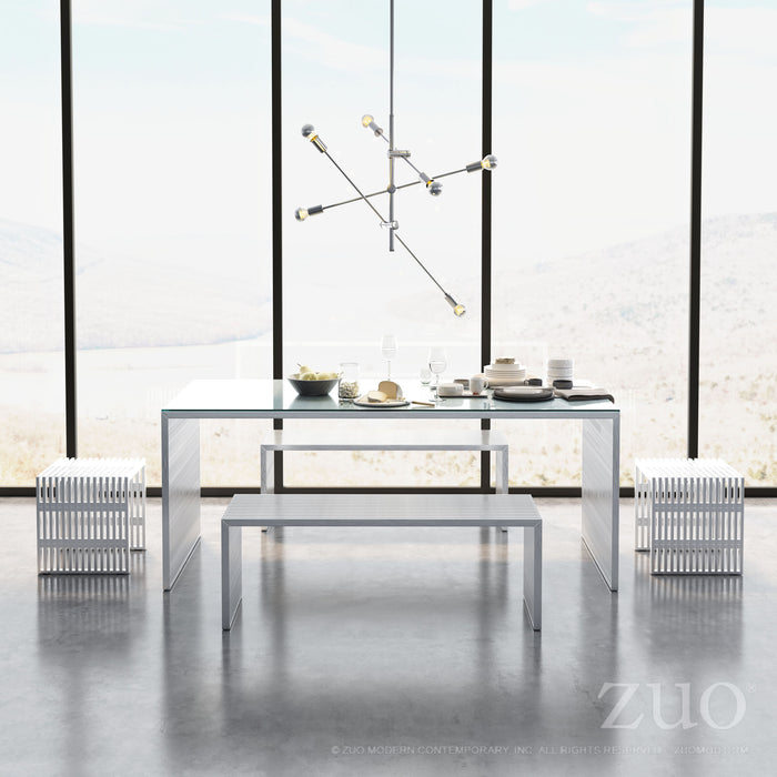 "Zuo Modern Novel 73"" Brushed Stainless Steel Dining Table with Tempered Glass Top"