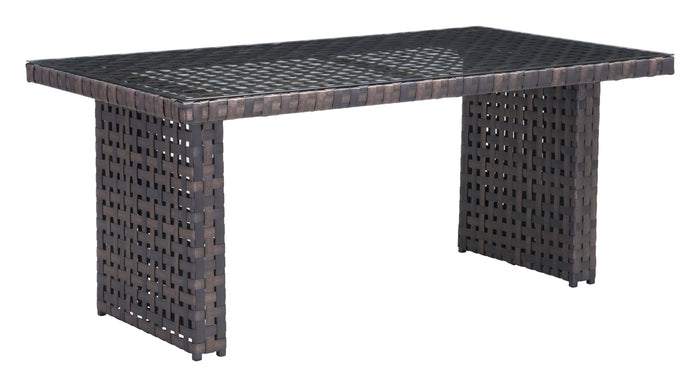 "Zuo Modern Pinery 63.5"" Indoor/Outdoor Brown Dining Table with Glass Top"